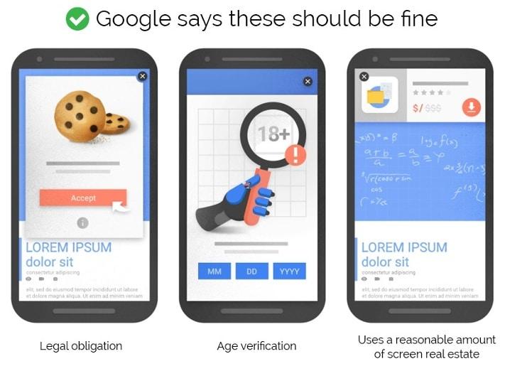 google okay mobile interstitial examples